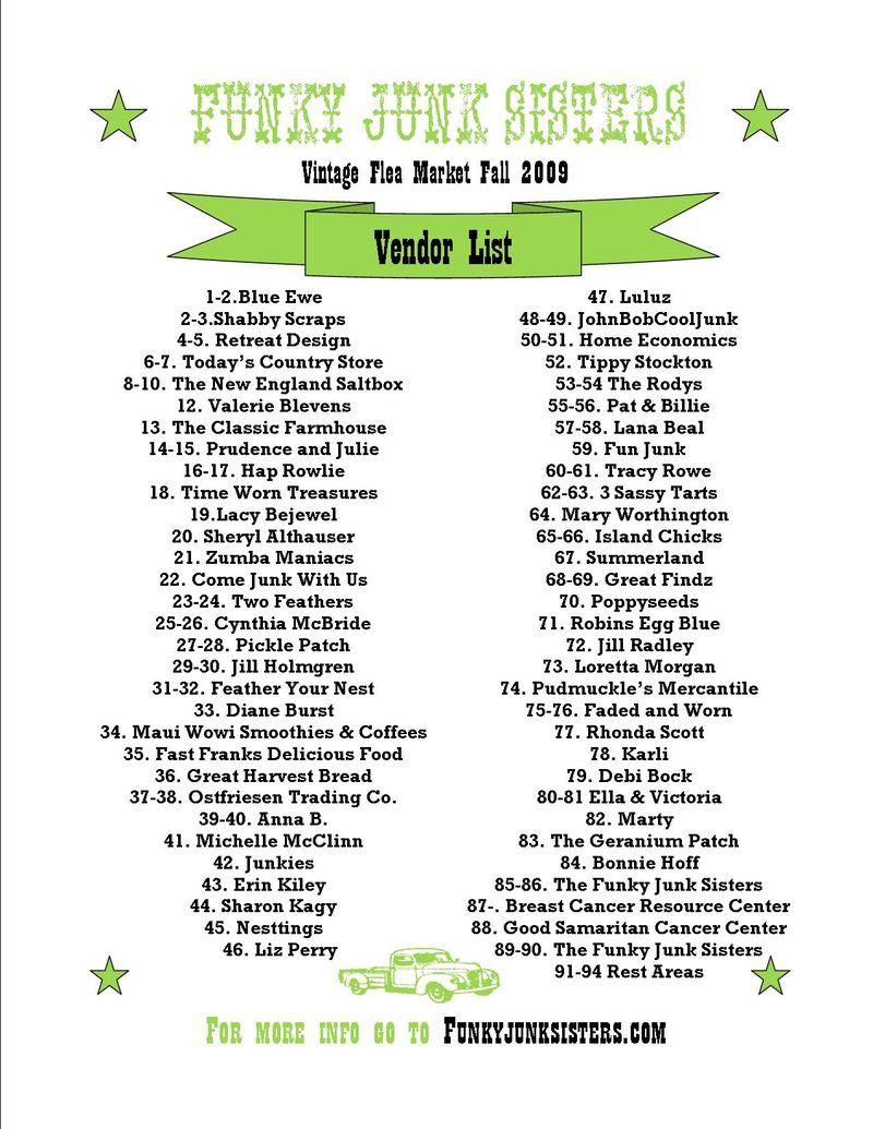 Funky Junk Vendor List